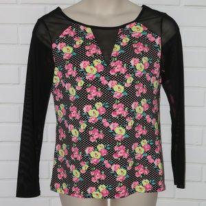 NWOT Betsy Johnson Sz L Polka Dot Rose Floral Top